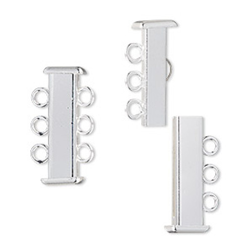 Clasp, 3-strand slide lock, silver-plated brass, 21x7mm rectangle tube. Sold per pkg of 4
