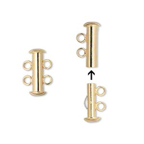 Clasp, 2-strand slide lock, gold-plated brass, 16x6mm tube. Sold per pkg of 4.