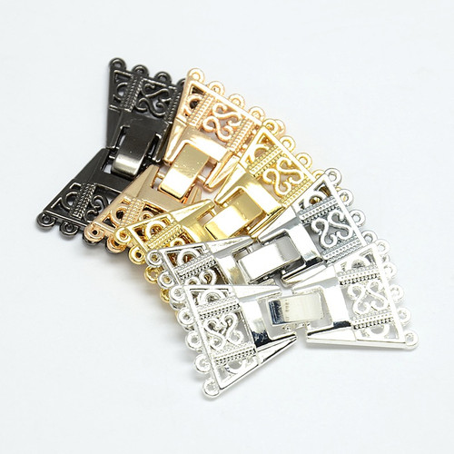 5 Strand Zinc Alloy and Brass Fold Over Clasp, Lead Free, Gold, 36x19x3mm, Hole: 1mm - 2pk