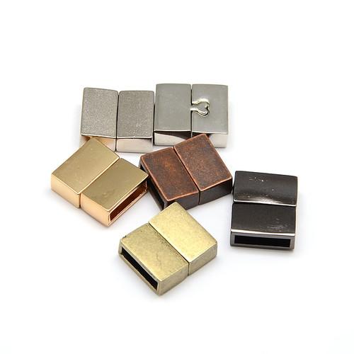 Rectangle Zinc Alloy Magnetic Clasp, Platinum, 18x16x6mm, Hole: 3x13mm - 2 pk