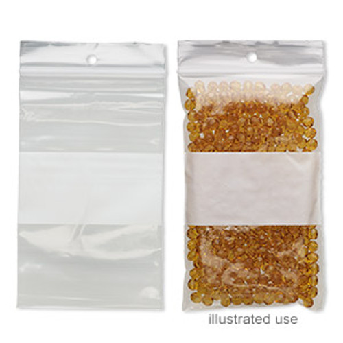 Bag, Tite-Lip™, plastic, clear and white, 3x5-inch top zip with block and hole. Sold per pkg of 100.