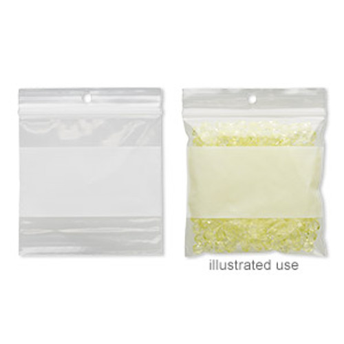 Bag, Tite-Lip™, plastic, clear and white, 3-inch top zip with block and hole. Sold per pkg of 100.
