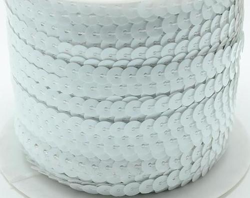 Pre-Strung, Paillette/Sequin, White, 5mm wide (5 metres)