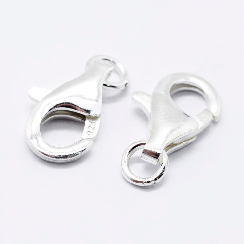 2 x 925 Sterling Silver Lobster Claw Clasps, Carved 925, Platinum, 13mm, Hole: 2mm