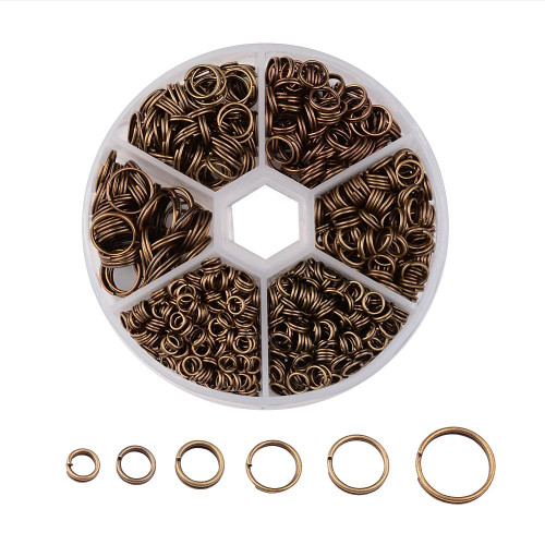 1 Box Split Rings - 4mm/5mm/6mm/7mm/8mm/10mm - Ant Bronze (110gm box)