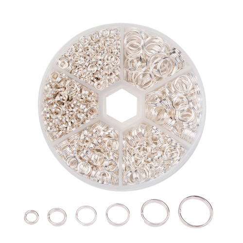 1 Box Split Rings - 4mm/5mm/6mm/7mm/8mm/10mm - Silver (110gm box)
