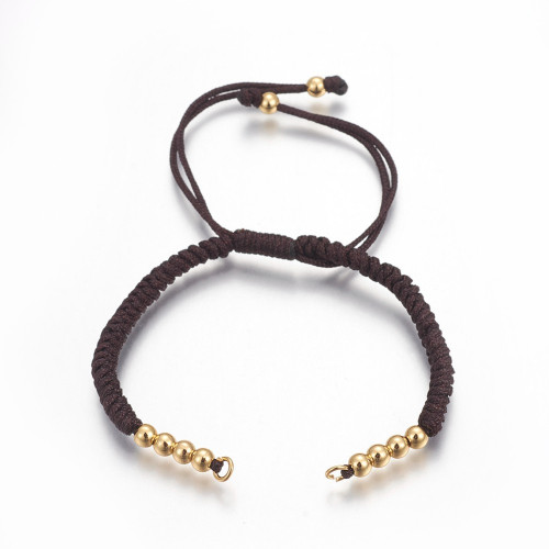 """Adjustable Nylon Cord Braided,  Gold Plated, Coconut Brown, 10-1/4""""(26cm)~11-5/8""""(29.6cm)"""