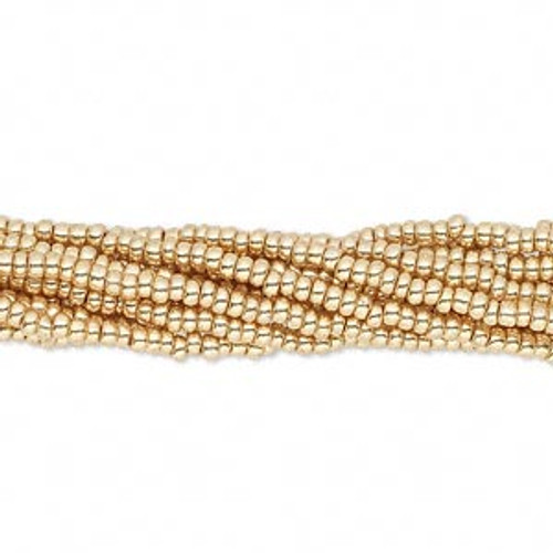 1 Half Kilo of Size 11 Seed Bead Hanks, Preciosa Czech glass, Metallic Gold (18304)