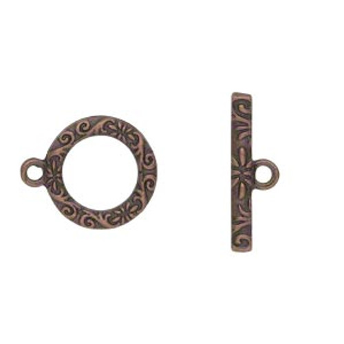 "Clasp, toggle, antique copper-finished ""pewter"" (zinc-based alloy), 17mm single-sided round with vine and flower design. Sold per pkg of 8."