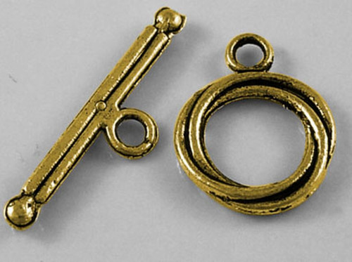 Tibetan Style Toggle Clasp Set, Antique Golden, Ring: 13mm wide - 20 pack