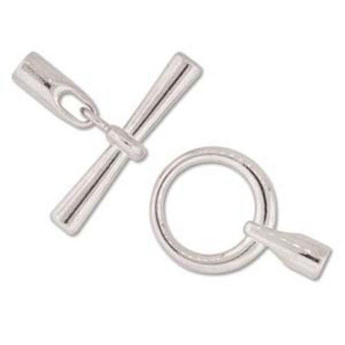 Toggle Clasp with Cord ends  3.2mm inner Diameter - Silver to fit cords 3mm thick - 2 PACK
