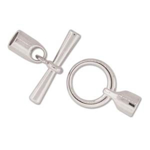 Toggle Clasp with Cord ends  6.2mm inner Diameter - Silver to fit cords 6mm thick - 2 PACK