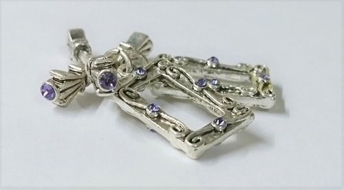 Crystal Innovations Toggle Clasp Rectangle - 23mm Silver with Tanzanite- 2 PACK