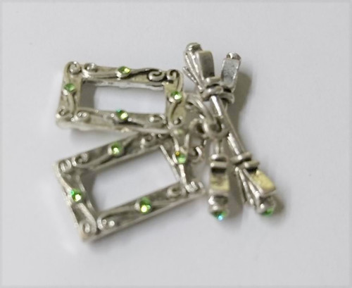 Crystal Innovations Toggle Clasp Rectangle - 23mm Silver with Peridot - 2 PACK