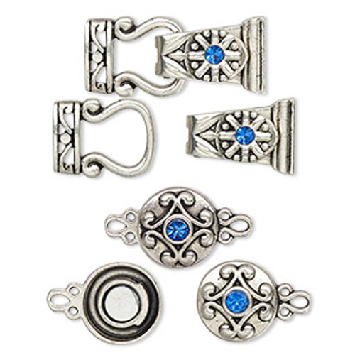 "Clasp mix, magnetic, glass rhinestone and antique silver-finished ""pewter"", blue, 12mm double-sided round and 29x13mm 2-strand fold-over. Sold per pkg of 4."