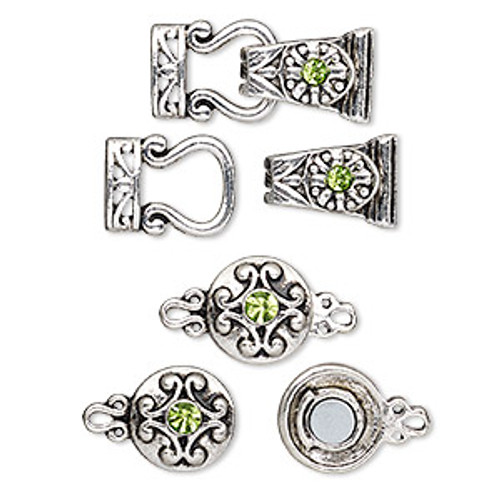 "Clasp, magnetic and 2-strand magnetic fold-over, glass rhinestone and antique silver-finished ""pewter"" (zinc-based alloy), green, 29x13mm and 12mm double-sided round. Sold per pkg of 4.le-sided round and 29x13mm 2-strand fold-over. Sold per pkg of 4."