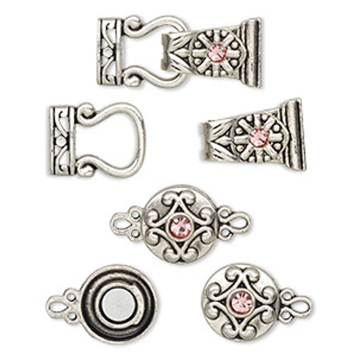 "Clasp mix, magnetic, glass rhinestone and antique silver-finished ""pewter"", pink, 12mm double-sided round and 29x13mm 2-strand fold-over. Sold per pkg of 4."