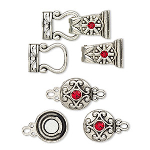 "Clasp mix, magnetic, glass rhinestone and antique silver-finished ""pewter"", red, 12mm double-sided round and 29x13mm 2-strand fold-over. Sold per pkg of 4."
