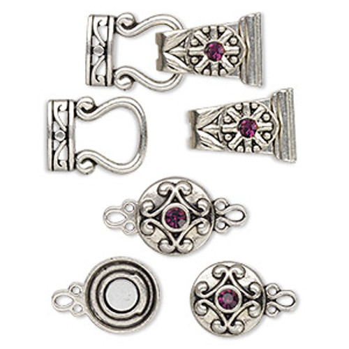 "Clasp mix, magnetic, glass rhinestone and antique silver-finished ""pewter"", purple, 12mm double-sided round and 29x13mm 2-strand fold-over. Sold per pkg of 4"