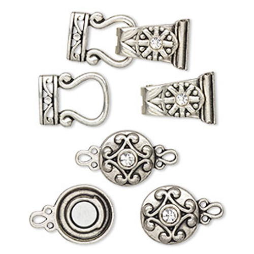 "Clasp mix, magnetic, glass rhinestone and antique silver-finished ""pewter"", clear, 12mm double-sided round and 29x13mm 2-strand fold-over. Sold per pkg of 4."