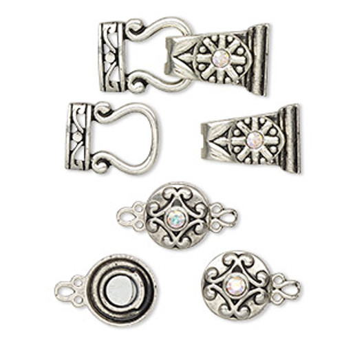 "Clasp mix, magnetic, glass rhinestone and antique silver-finished ""pewter"", clear AB, 12mm double-sided round and 29x13mm 2-strand fold-over. Sold per pkg of 4."