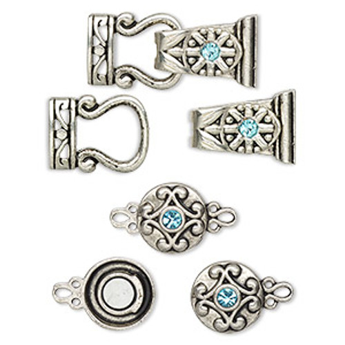 "Clasp mix, magnetic, glass rhinestone and antique silver-finished ""pewter"", aqua blue, 12mm double-sided round and 29x13mm 2-strand fold-over. Sold per pkg of 4."