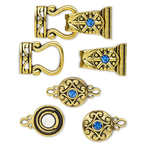 "Clasp mix, magnetic, glass rhinestone and antique gold-finished ""pewter"", blue, 12mm double-sided round and 29x13mm 2-strand fold-over. Sold per pkg of 4."