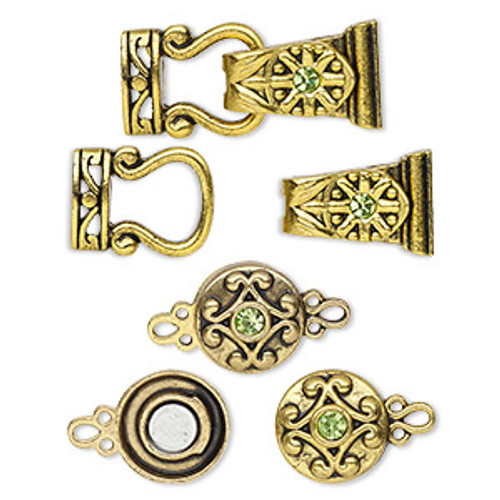 "Clasp mix, magnetic, glass rhinestone and antique gold-finished ""pewter"", green, 12mm double-sided round and 29x13mm 2-strand fold-over. Sold per pkg of 4."