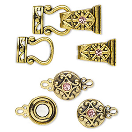 "Clasp mix, magnetic, glass rhinestone and antique gold-finished ""pewter"", pink, 12mm double-sided round and 29x13mm 2-strand fold-over. Sold per pkg of 4."