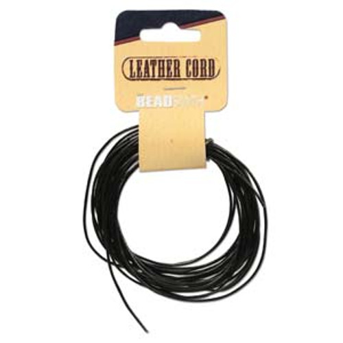 Leather Cord Black 5 yards - 1mm thick