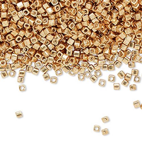 1.8mm Miyuki Square Bead - Opaque Galv Gold SB18-1053 - 25gm Bag