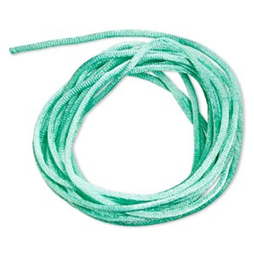 Cord, Satinique™, satin, Seafoam Green, 2mm regular. Sold per pkg of 10 feet.