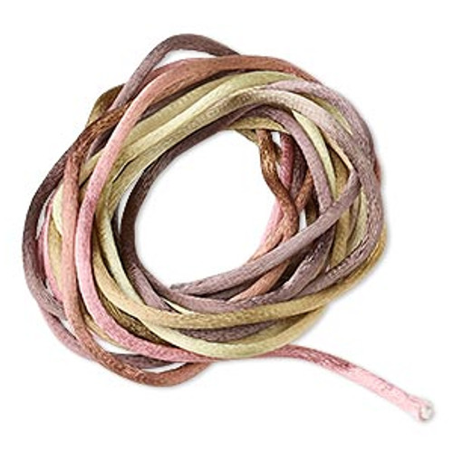 Cord, Satinique™, satin, falling leaves, 2mm regular. Sold per pkg of 10 feet.