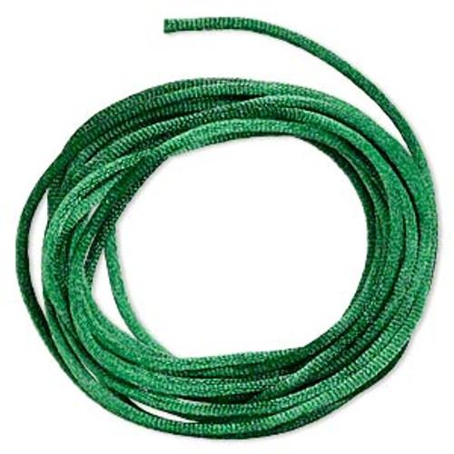 Cord, Satinique™, satin, dark green, 2mm regular. Sold per pkg of 10 feet.