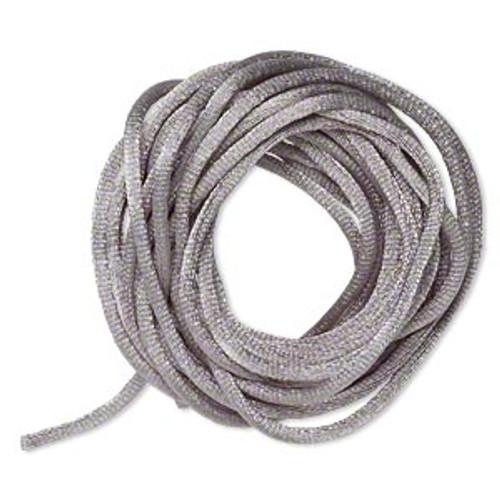 Cord, Satinique™, satin, silver, 2mm regular. Sold per pkg of 10 feet.