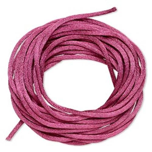 Cord, Satinique™, satin, dark rose, 2mm regular. Sold per pkg of 10 feet.