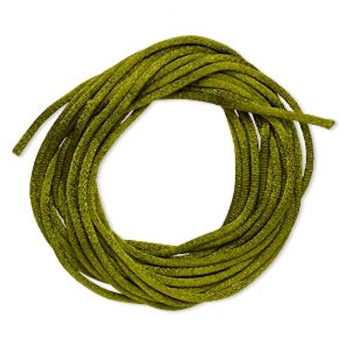 Cord, Satinique™, satin, olive green, 2mm regular. Sold per pkg of 10 feet.