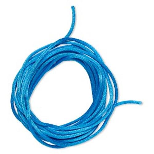Cord, Satinique™, satin, dark turquoise, 2mm regular. Sold per pkg of 10 feet.