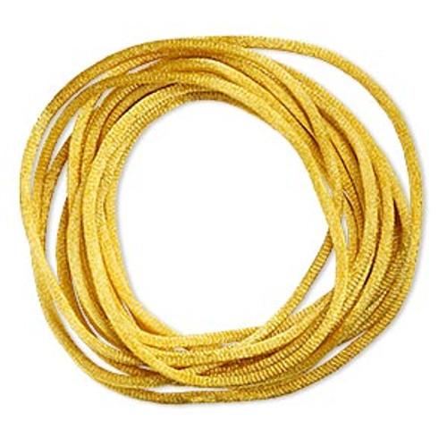 Cord, Satinique™, satin, gold, 2mm regular. Sold per pkg of 10 feet.