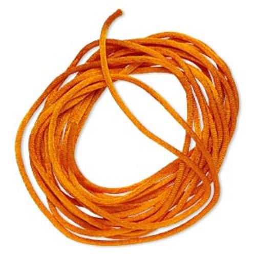 Cord, Satinique™, satin, orange, 2mm regular. Sold per pkg of 10 feet.