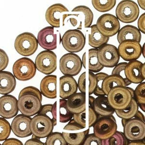 Czech O Beads 3.8mm x 1mm - 8.1gm Vial Metallic Mix  (Approx 250 beads)