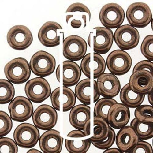 Czech O Beads 3.8mm x 1mm - 8.1gm Vial Jet Bronze (Approx 250 beads)