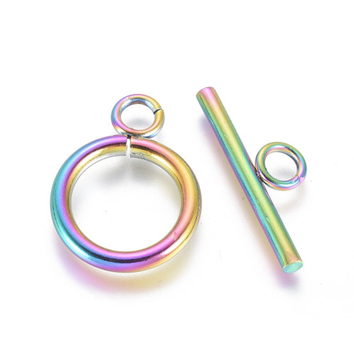 304 Stainless Steel Toggle Clasps, Ring, Multi-color, 2 Sets