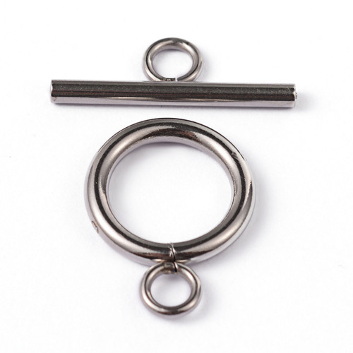 304 Stainless Steel Toggle Clasps, Ring, Stainless Steel Colour, 2 Sets
