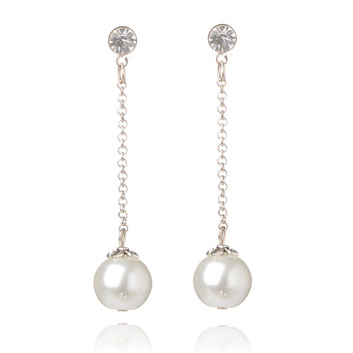 Stylish Glass Pearl Ball Dangle Stud Earrings, with Iron Chains and Rhinestone Beads (Sold per Pair)