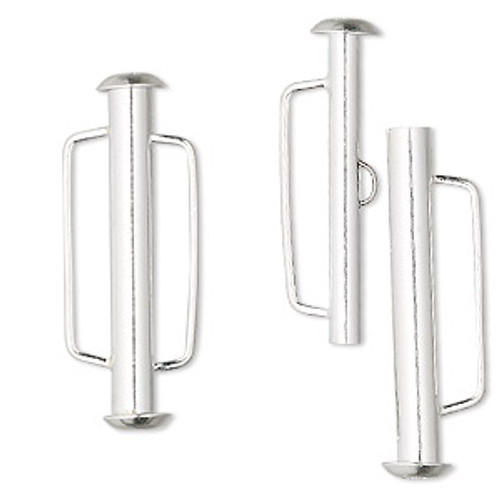 Clasp, multi-strand slide lock, sterling silver, 31x6mm tube. Sold individually.