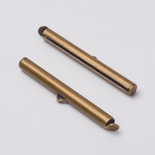 Brass Slide On End Clasp Tubes 40mm x 4mm - to suit size 11 Seed Beads (2.5mm Inner Diameter) Antique Bronze Sold in packs of 20