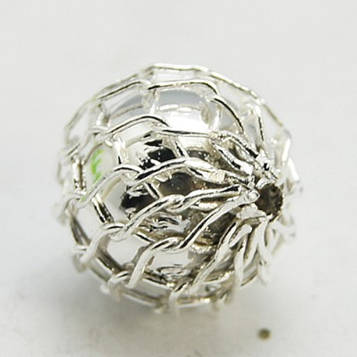 Brass Net Beading, with CCB Bead, Round, Silver, 7mm, Hole: 1.5mm (Pack of 20)
