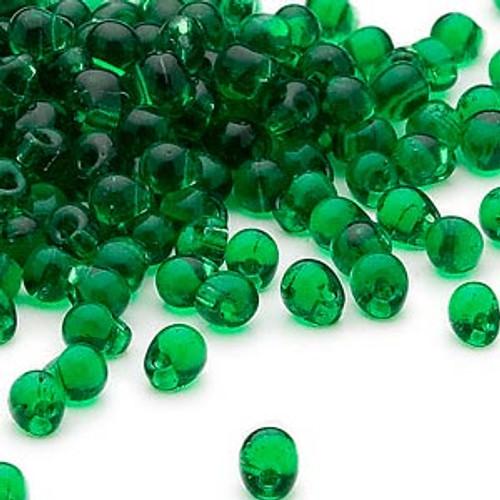Seed bead, Miyuki, glass, transparent green, (DP146), 4x3.4mm fringe. Sold per 10-gram pkg.