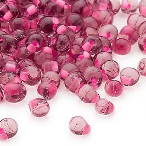 Seed bead, Miyuki, glass, transparent purple color-lined pink, (DPF-3), 4x3.4mm fringe. Sold per 10-gram pkg.